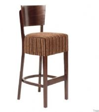 Becky Wooden High Stool with Upholstered Seat
